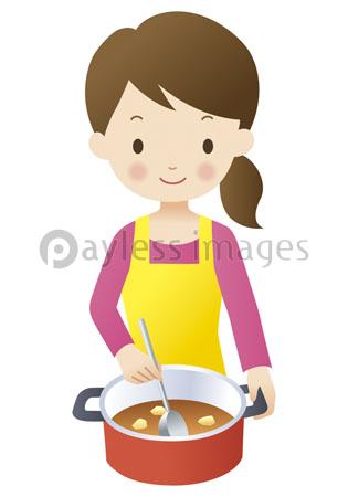 鍋で料理する女性の写真イラスト素材 Gf1060845619 ペイレスイメージズ