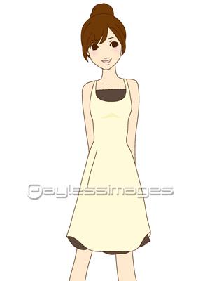 ワンピースを着た女の子aiイラストベクターデータの写真イラスト