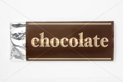 5043c57164 白背景に板チョコレートのパッケージのアップの写真・イラスト素材 ...